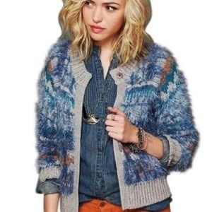 """Free People Blue """"Nordic Party"""" Fuzzy Cardigan"""